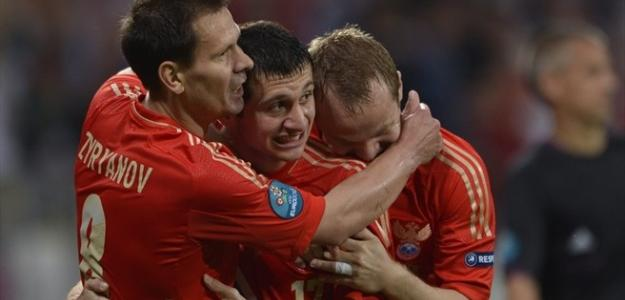 Rusia celebra un gol en la Eurocopa 2012