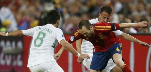 Iniesta en el España-Portugal de la Eurocopa 2012