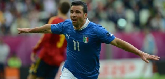 Di Natale celebra un gol frente a España en la Eurocopa 2012