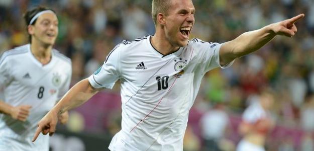 Podolsky celebra el primer gol de Alemania. Foto:twitter.com